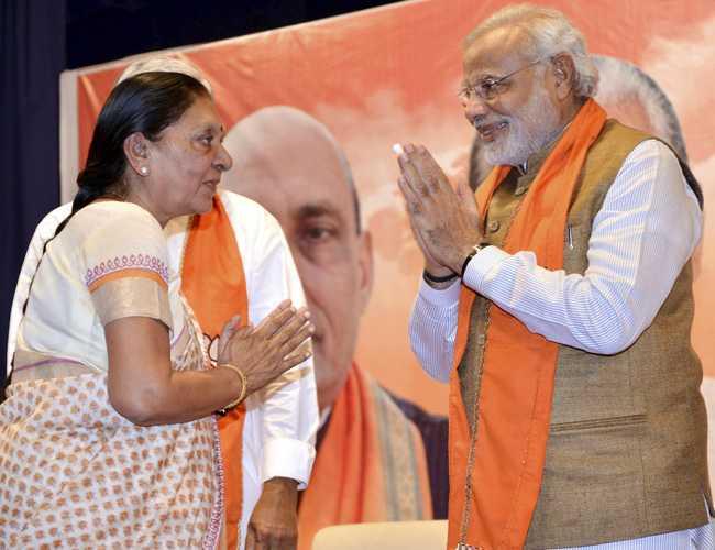 Gujarat CM Anandiben with PM Narendra Modi-fnbworld
