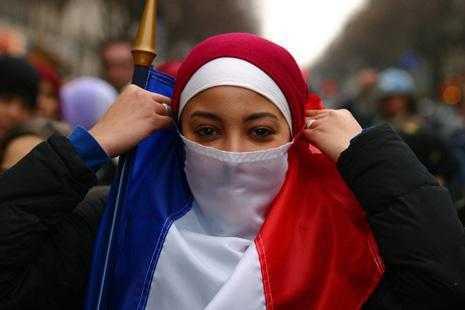 Burka-clad woman in France