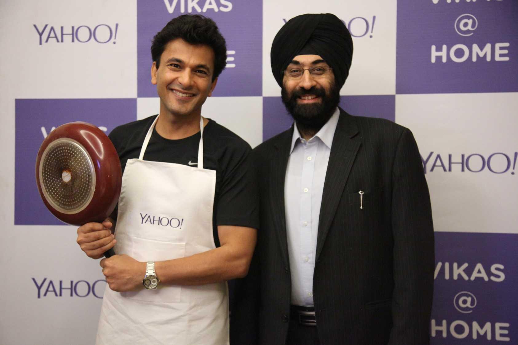 Michelin Stars chef Vikas Khanna with Rajiv Shawney, business development head, Yahoo India