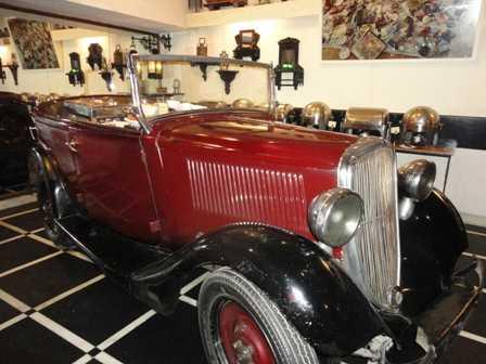 A vintage Fiat parked inside Chor Bizarre