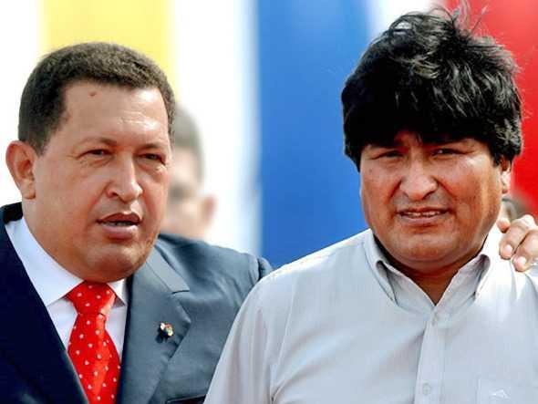 Venezualan Prez Chavez and Bolivian Evo Morales