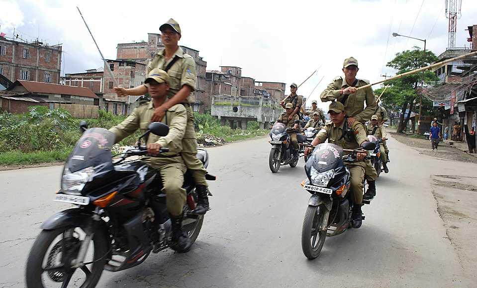 Scene of  curfew in Imphal