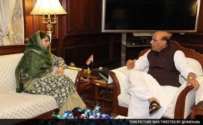 Kashmir CM Mehbooba with Home Minister Rajnath Singh- fnbworld