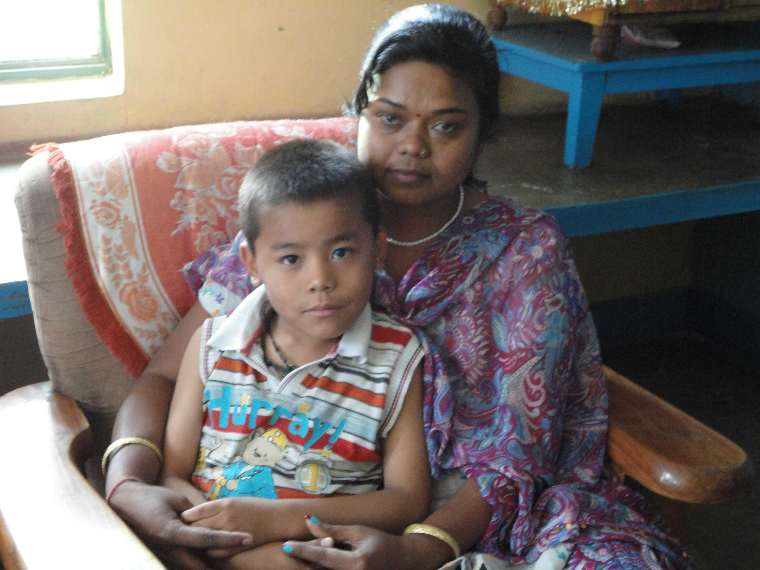 Yash with his mom.