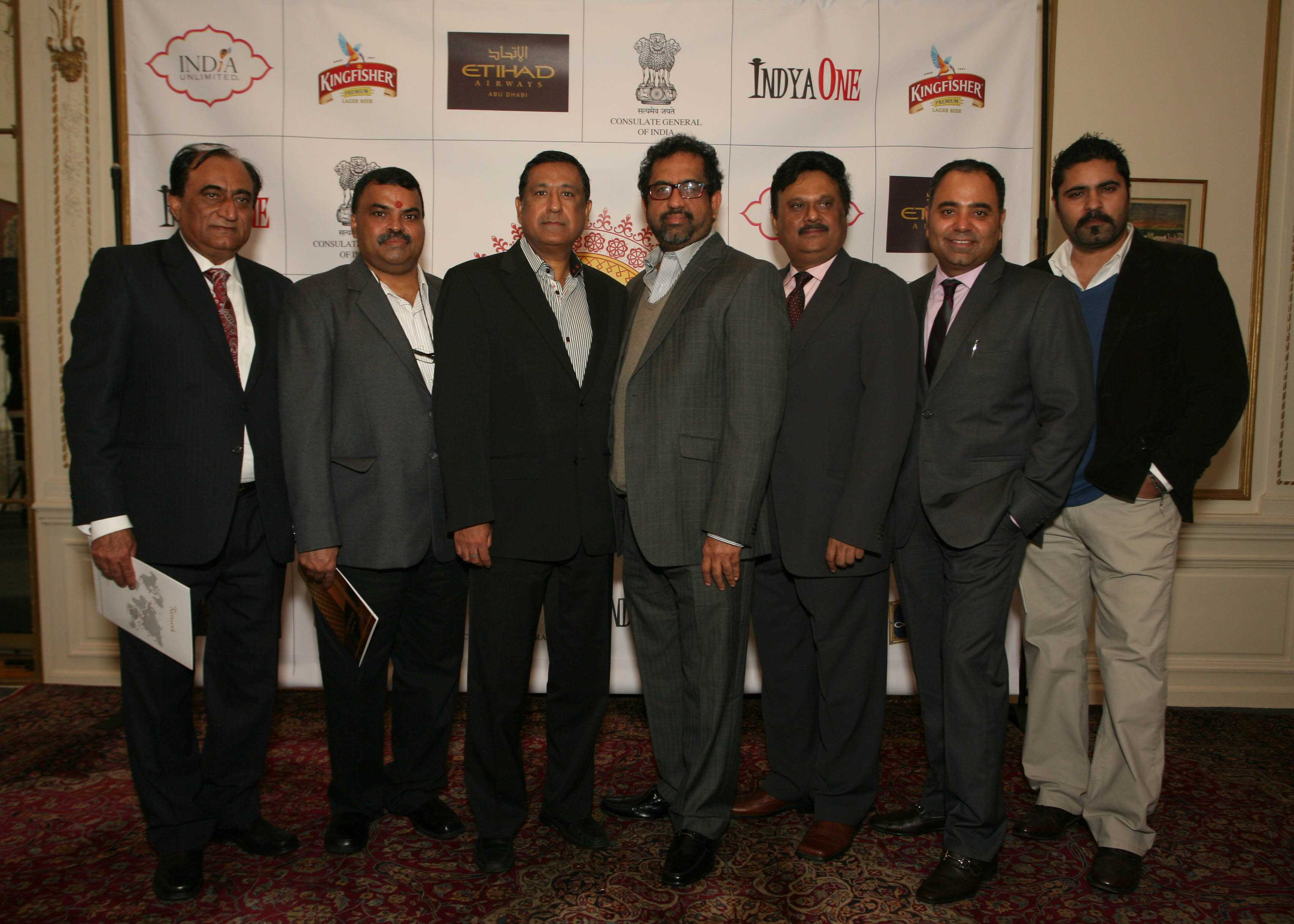 The core group of New York restaurateurs supporting India Festive Food Week, from left: Mohan Ahluwalia of Bombay Palace, Hemant Mathur of Tulsi, Rajesh Bhardwaj of Junoon, Satarajan of Chola, Nitin Vyas of Madras Mahal, Kamal Arora of Hospitality Group and Ravi Pillai of Bombay Duck  Company at the announcement at the Indian Consulate. (Photo: Gunjesh Desai, Masala Junction).